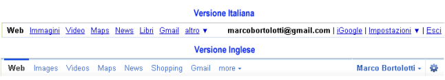 Differenze tra menu di Google.it e Google.com