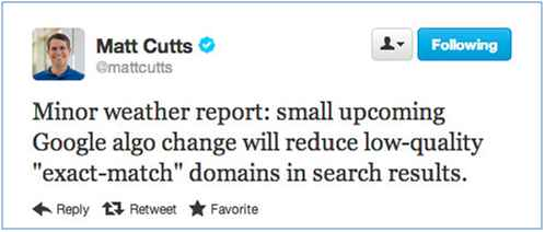 Exact Match Domain Matt Cutts Twitter